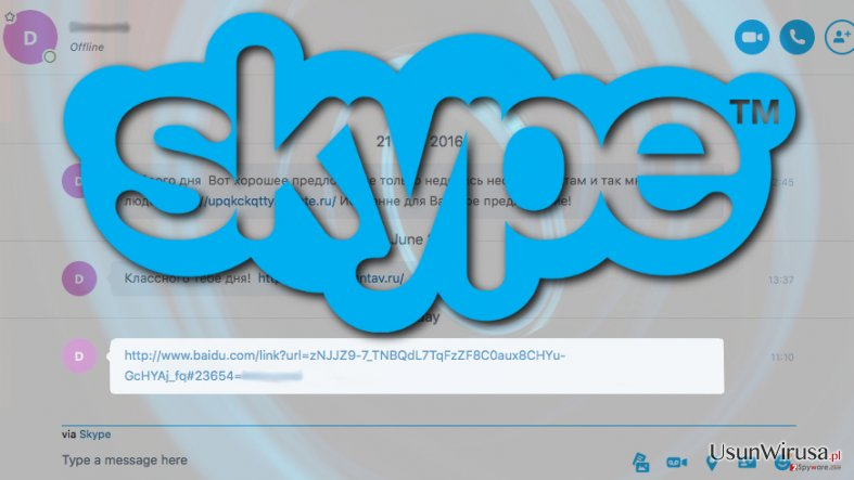 Image of infected Skype link