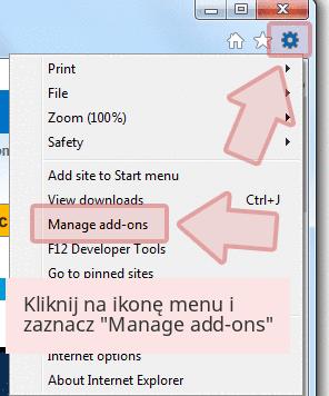 Kliknij na ikonę menu i zaznacz 'Manage add-ons'