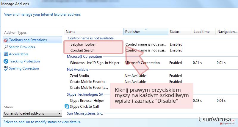 Klknij prawym przyciskiem myszy na każdym szkodliwym wpisie i zaznacz 'Disable'