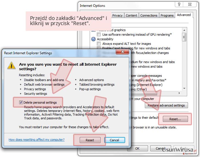 Przejdź do zakładki 'Advanced' i kliknij w przycisk 'Reset'.