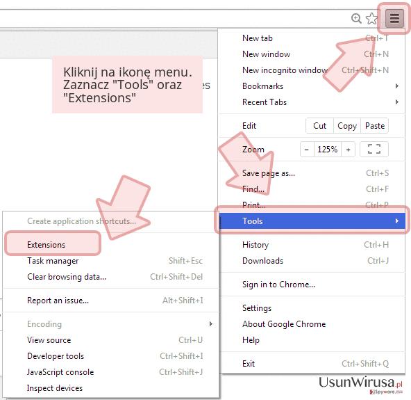 Kliknij na ikonę menu. Zaznacz 'Tools' oraz 'Extensions'