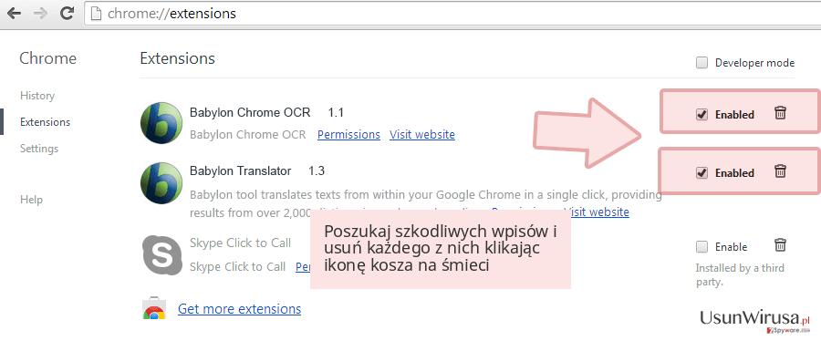 Poszukaj szkodliwych wpisów i usuń każdego z nich klikając ikonę kosza na śmieci
