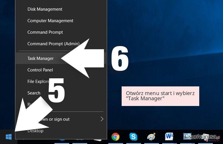 Otwórz menu start i wybierz 'Task Manager'