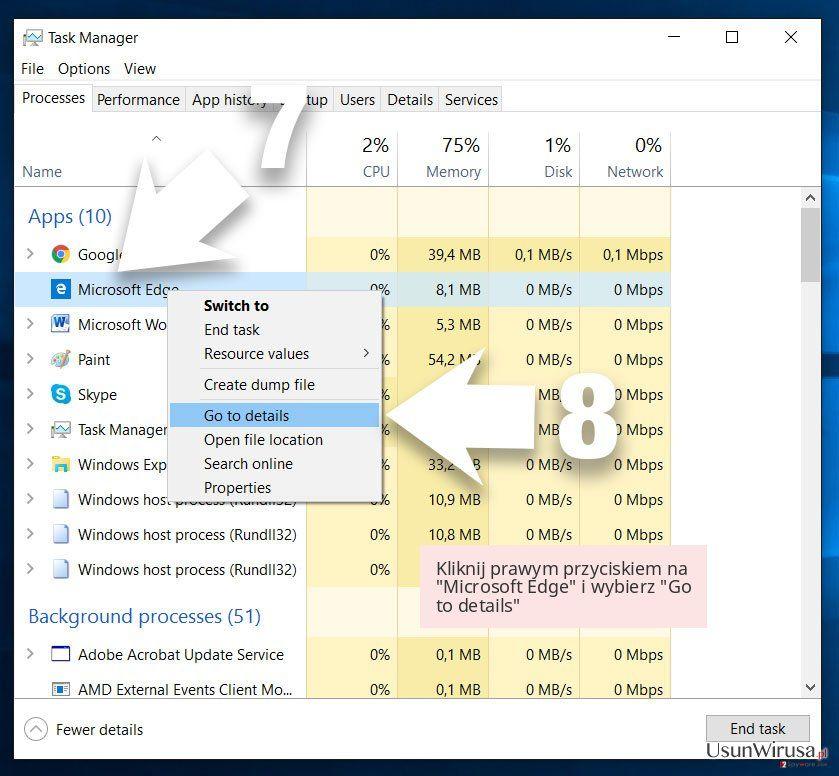 Kliknij prawym przyciskiem na 'Microsoft Edge' i wybierz 'Go to details'