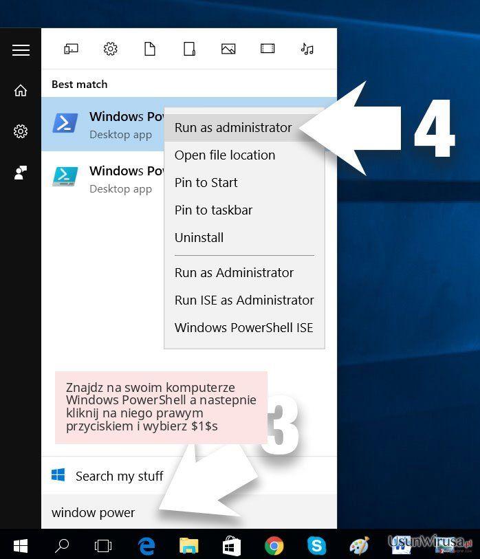 Znajdz na swoim komputerze Windows PowerShell a nastepnie kliknij na niego prawym przyciskiem i wybierz $1$s