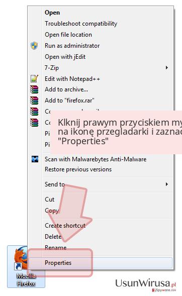 Klknij prawym przyciskiem myszy na ikonę przegladarki i zaznacz 'Properties'