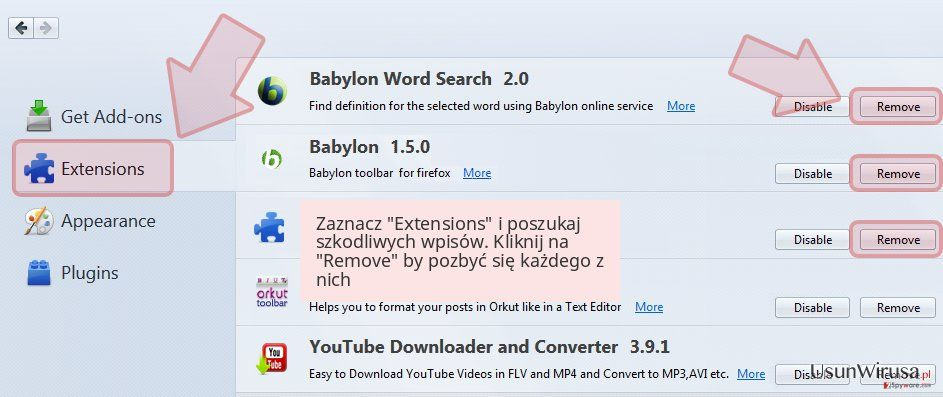 Zaznacz 'Extensions' i poszukaj szkodliwych wpisów. Kliknij na 'Remove' by pozbyć się każdego z nich