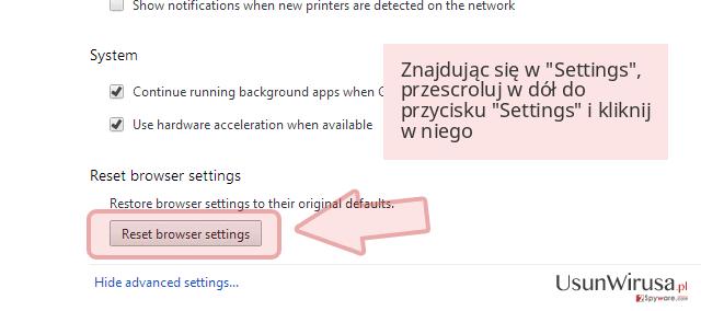 Znajdując się w 'Settings', przescroluj w dół do przycisku 'Settings' i kliknij w niego