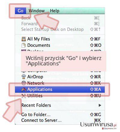 Wciśnij przycisk 'Go' i wybierz 'Applications'