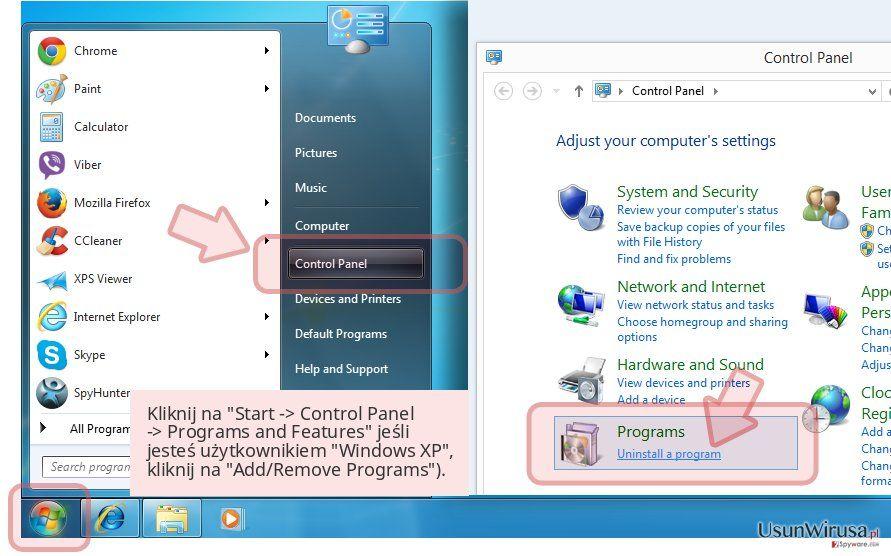Kliknij na 'Start -> Control Panel -> Programs and Features' jeśli jesteś użytkownikiem 'Windows XP', kliknij na 'Add/Remove Programs').