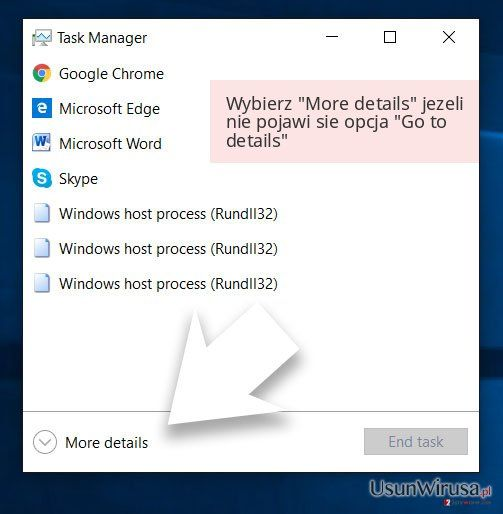 Wybierz 'More details' jezeli nie pojawi sie opcja 'Go to details'