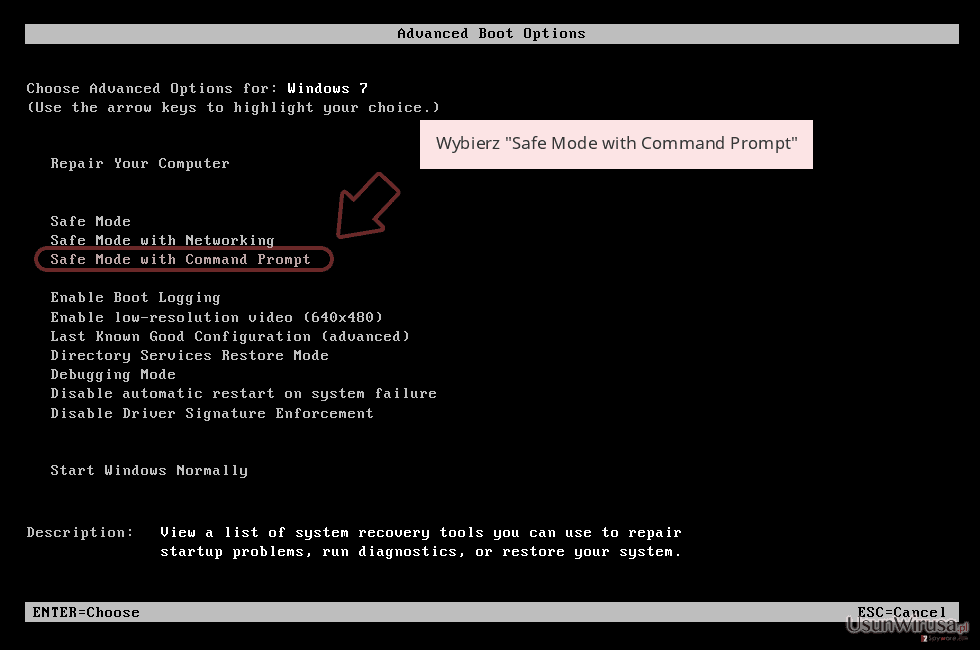 Wybierz 'Safe Mode with Command Prompt'
