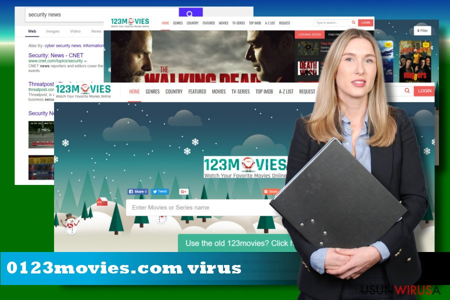 Ilustracja przedstawiająca porywacza przeglądarek 0123movies.com