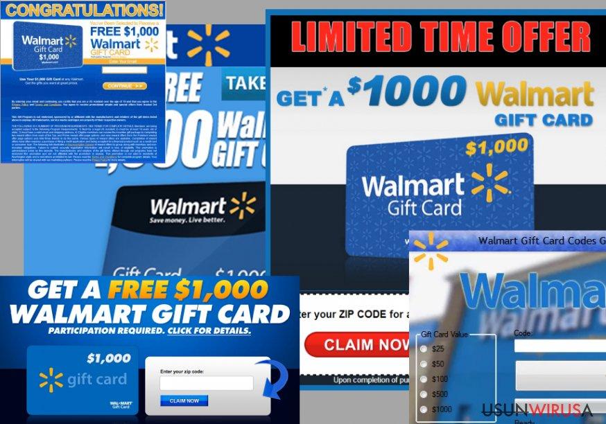 "Przykład reklam ""$1000 Walmart Gift Card Winner"""