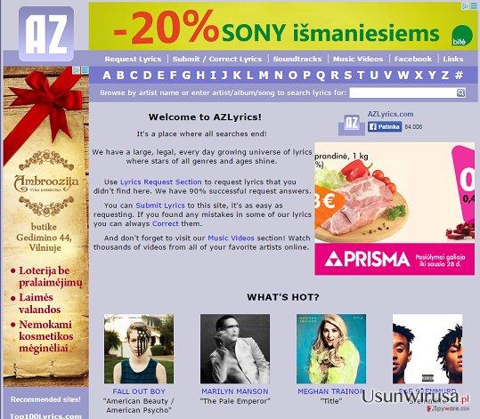 Reklamy AZLyrics snapshot
