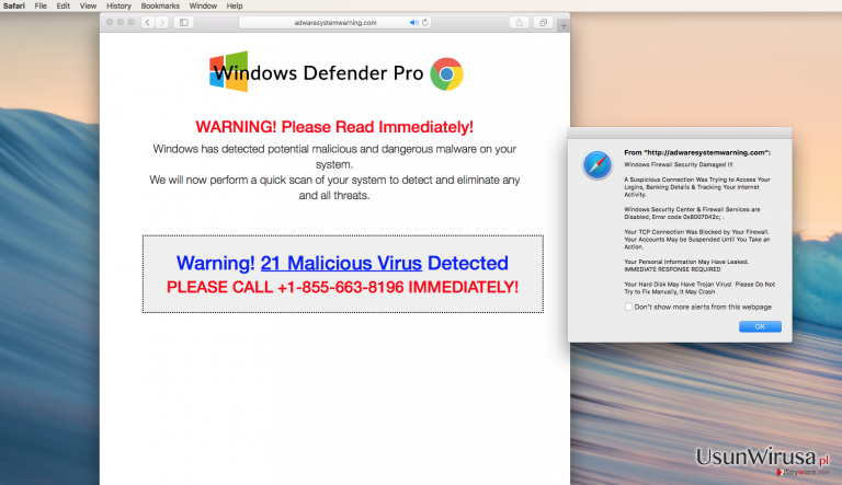 pop-up ads by Adwaresystemwarning.com adware on a computer screen