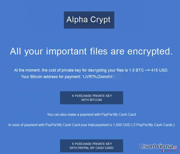 Wirus Alpha Crypt snapshot