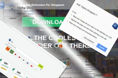 Prezentacja rozszerzenia i głównej strony AlphaShoppers