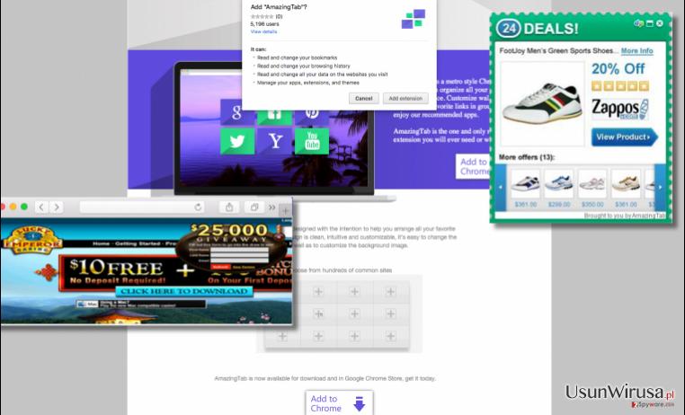ads by AmazingTab examples on AmazingTab website