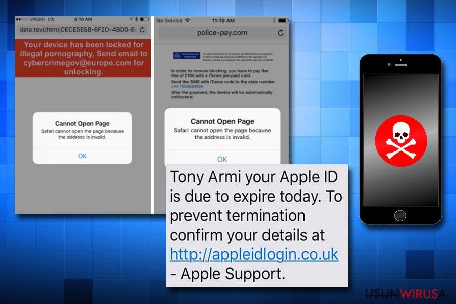 Oszustwa wirusa Apple na iPhonach