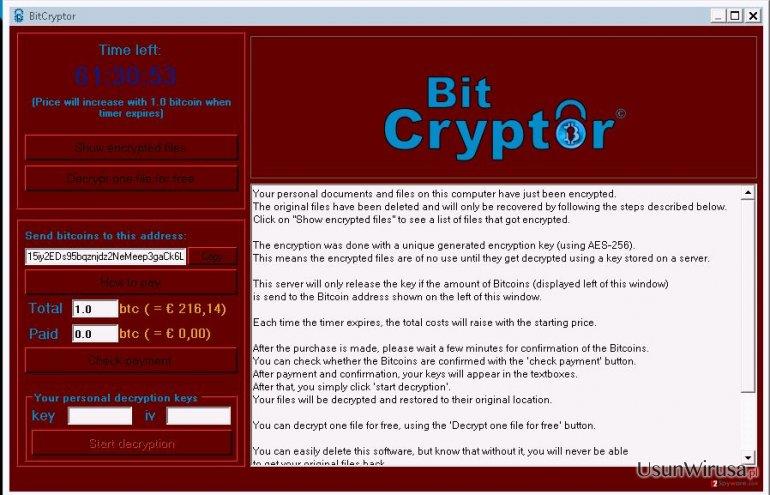 WIrus BitCryptor snapshot