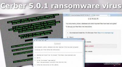 Ilustracja przedstawiająca wirusa ransomware Cerber 5.0.1