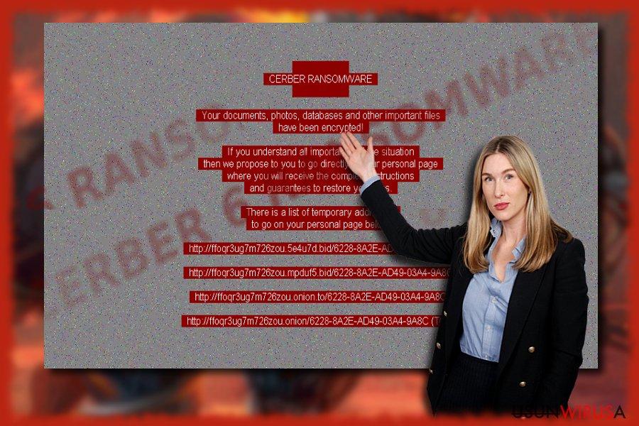 Przykładowy ekran wirusa Cerber 6