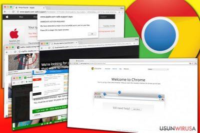 Przykłady reklam wyświetlanych przez adware Chrome