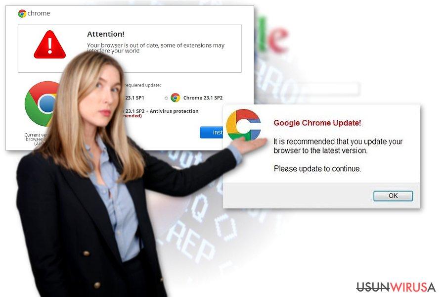 Przykład wirusa przekierowań Chrome