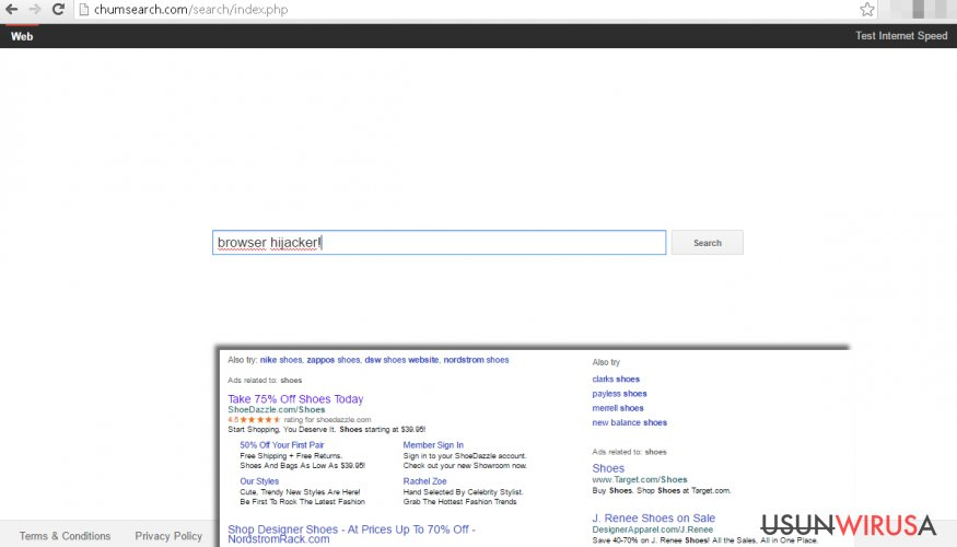 Chumsearch.com redirect virus provides fake search engine