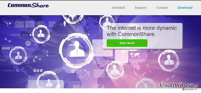 Reklamy programu CommonShare oraz CommonShare deals snapshot
