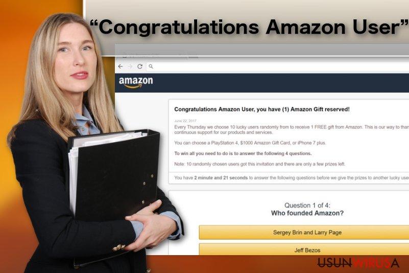 """Ilustracja przedstawiająca wirusa adware """"Congratulations Amazon User"""""""