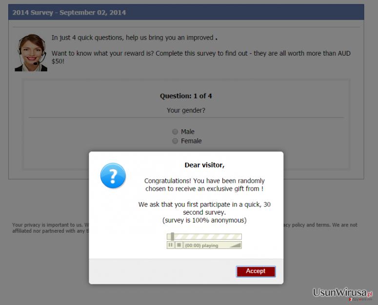 Wirus pop-up Consumer-responses.com snapshot
