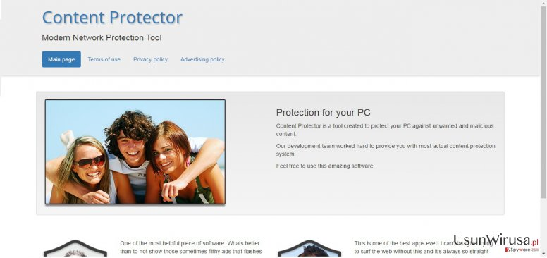 The example of Content Protector virus website