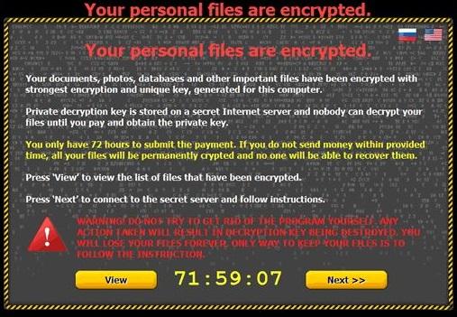 Critroni Ransomware snapshot
