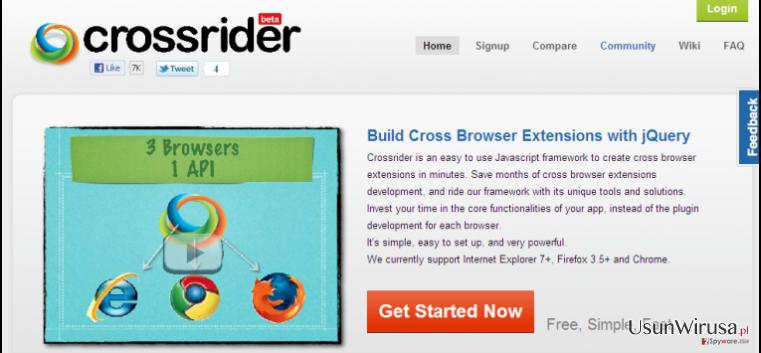 Search.crossrider.com redirect snapshot