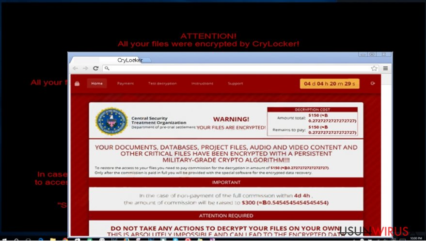 The image revealing CryLocker virus