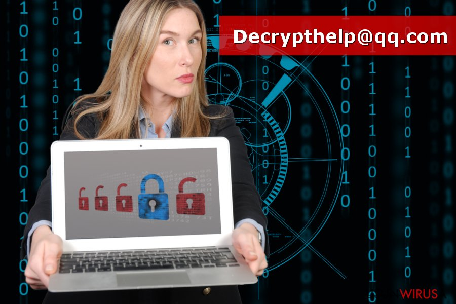 Obrazek prezentujący wirusa ransomware Decrypthelp@qq.com