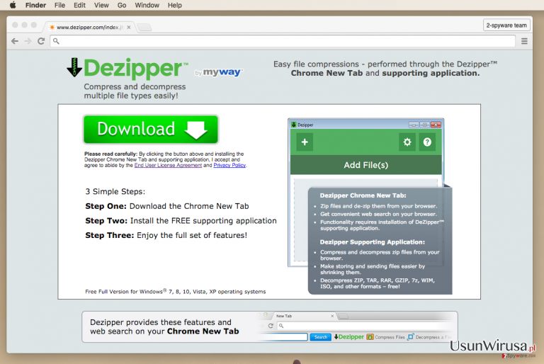 Screenshot of Dezipper website