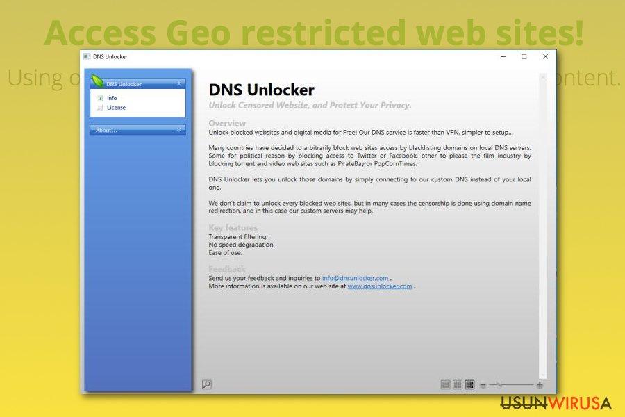 Oprogramowanie DNS Unlocker snapshot