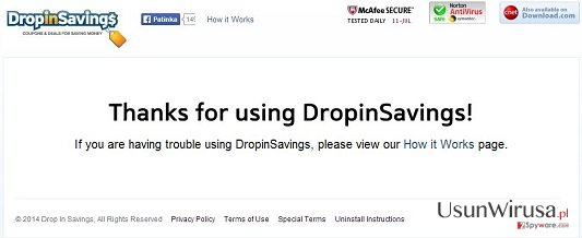 Wirus DropinSavings snapshot