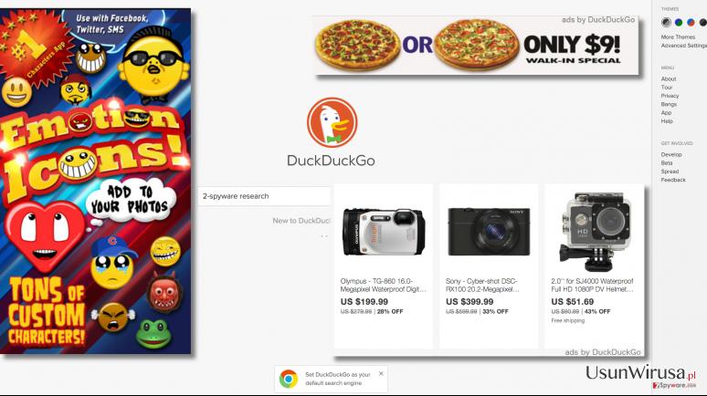 DuckDuckGo ads examples