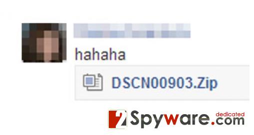 "Wirus Facebookowy ""hahaha"" snapshot"