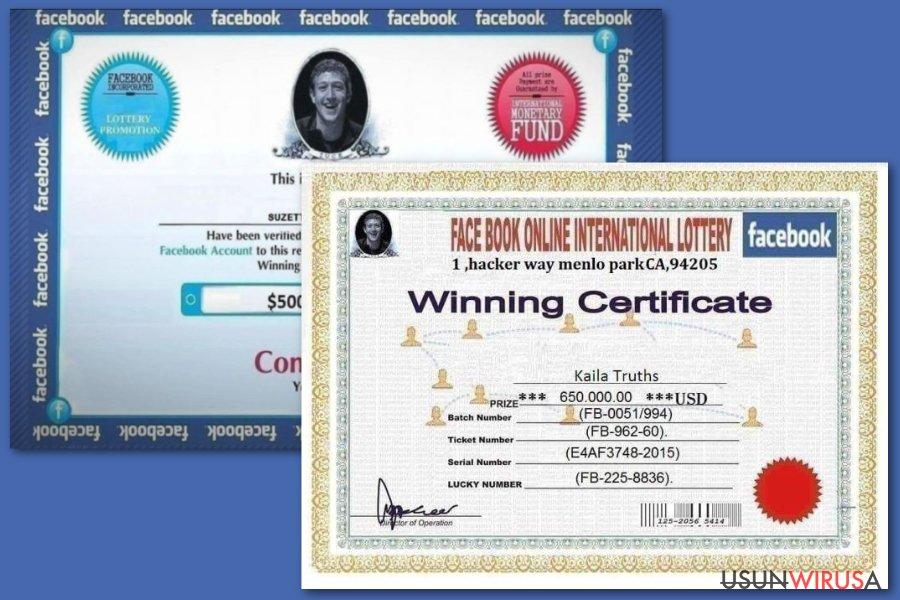 Fałszywe loterie Facebook
