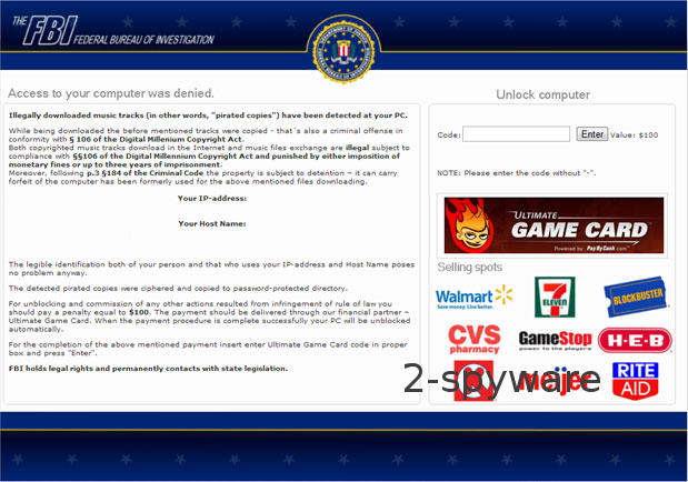 FBI Ultimate Game Card virus snapshot