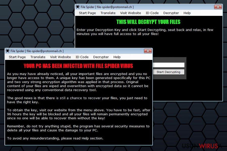 Przedstawienie ransoware'a File Spider