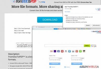 Zrzut ekranu paska narzędzi From Doc to PDF