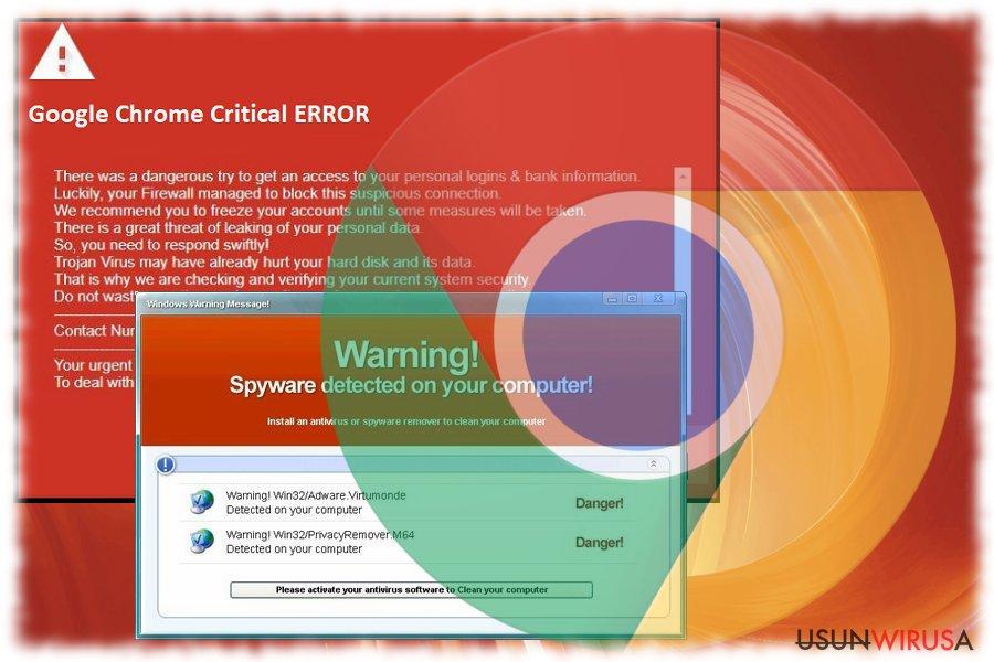 Fałszywy błąd krytyczny Google Chrome