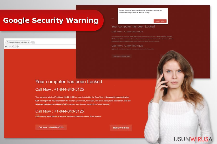"""Obrazek przedstawiający wirusa """"Google Security Warning"""""""