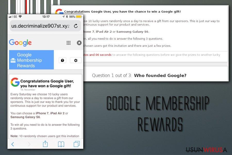 Wirus Google Memebership Rewards